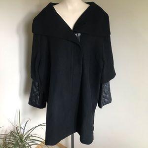 Pennington's Wool Coat Vintage Zip Up Black Plus Size 3X